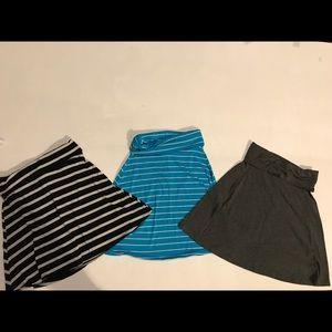 Set of 3 fold over waist a line skirts